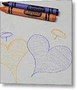 Hearts Crayola Crayons Artwork Metal Print