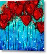 Hearts On Fire - Romantic Art By Sharon Cummings Metal Print