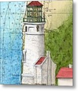 Heceta Head Lighthouse Or Nautical Chart Map Art Cathy Peek Metal Print
