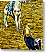 Heeled Steer Metal Print