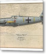 Heinz Ebeling Messerschmitt Bf-109 - Map Background Metal Print by Craig Tinder