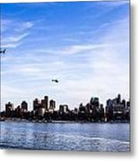 Helicopter Tour Of Nyc Metal Print