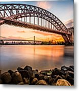 Hell Gate And Triboro Bridge At Sunset Metal Print