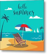Hello Summer Poster. Tropical Beach Metal Print