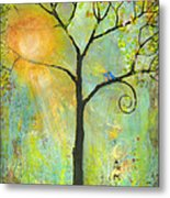 Hello Sunshine Tree Birds Sun Art Print Metal Print by Blenda Studio