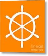 Helm In White And Orange Metal Print