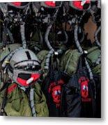 Helmets And Flight Gear Of Hellenic Air Metal Print