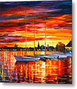Helsinki Sailboats At Yacht Club Metal Print by Leonid Afremov