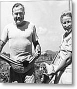 Hemingway, Wife And Pets Metal Print by Underwood Archives
