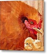 Hen With Chick On Wood Metal Print