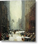 Henri's Snow In New York Metal Print