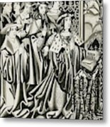 Henry Vi And His Court At  Prayer Metal Print