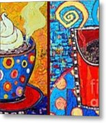 Her And His Coffee Cups Metal Print