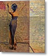Her Back To The Wall Metal Print