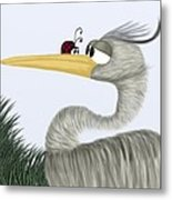 Herb The Heron And His Visitor Metal Print