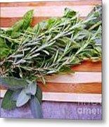 Herbs On Cutting Board Metal Print