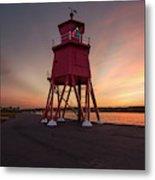 Herd Groyne Lighthouse On The Water S Metal Print
