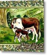 Hereford Cow And Calf Blank Christmas Card Metal Print
