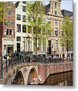 Herengracht Canal Houses In Amsterdam Metal Print