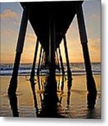 Hermosa Pier At Sunset Metal Print