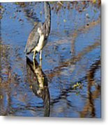 Heron And Reflection In Jekyll Island's Marsh Metal Print by Bruce Gourley
