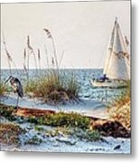 Heron And Sailboat Larger Sizes Metal Print by Michael Thomas