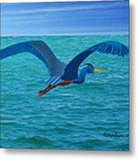 Heron Flying Over Ocean Metal Print