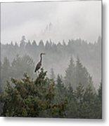 Heron In The Mist Metal Print