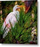 Heron In The Pines Metal Print