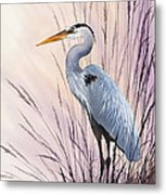 Herons Driftwood Home Metal Print