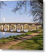 Hexham Bridge And Riverside Path Metal Print