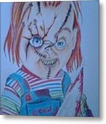Hi I'am Chucky  Wanna Play Metal Print