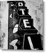 Hi-lander Motel Variation Black And White Metal Print by Gail Lawnicki