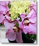 Pink Hibiscu And Hydrangea Flower #2 Metal Print