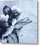 Hibiscus  Black And White Metal Print
