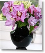 Hibiscus And Hydrangea Flower Metal Print