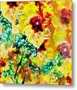 Hibiscus Impressionist Metal Print