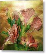 Hibiscus Sky - Peach And Yellow Tones Metal Print