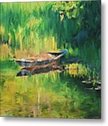 Hidden Fish Boat Metal Print