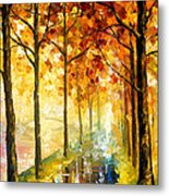 Hidden Path - Palette Knife Oil Painting On Canvas By Leonid Afremov Metal Print