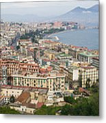 High Angle View Of A City, Naples Metal Print