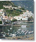 High Angle View Of A Town, Amalfi Metal Print
