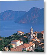 High Angle View Of A Town At The Coast Metal Print