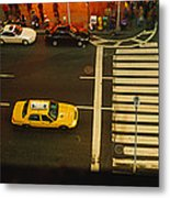High Angle View Of Cars At A Zebra Metal Print