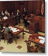 High angle view of courtroom Metal Print