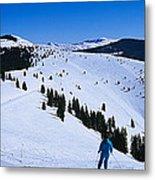 High Angle View Of Skiers Skiing, Vail Metal Print