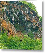 High Cliffs Along River Kwai In Kanchanaburi-thailand Metal Print