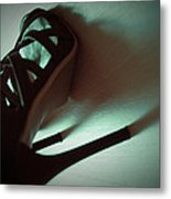 High Heels Brown Stylish Shoes Metal Print
