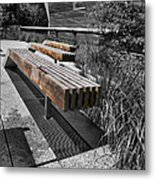 High Line Benches Black And White Metal Print