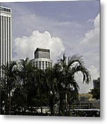 High Rise Buildings Behind Trees Along With Construction Work In Singapore Metal Print